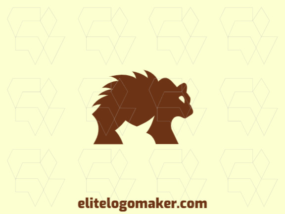 Animal logo design in the shape of a bear with thorns on the back (similar to a saw) with brown color.