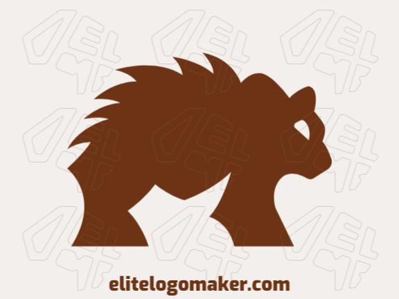 Logotipo abstrato com ideia incrível formando um urso marrom composto por formas simples.