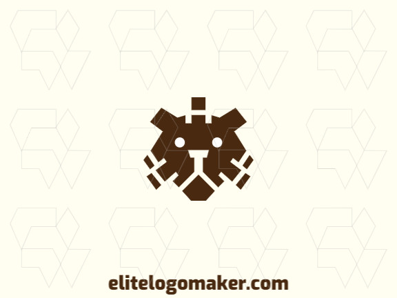 Animal logo in the shape of a brown bear head composed of abstracts shapes with brown colors.