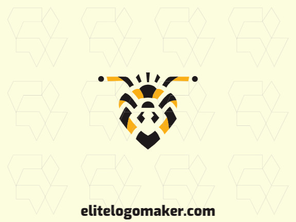 Stylized logo in the shape of a bee's head composed of abstracts shapes with black and yellow colors.