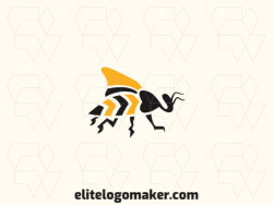 Abstract logo design with the shape of a flying bee composed of solids shapes with yellow and black colors.