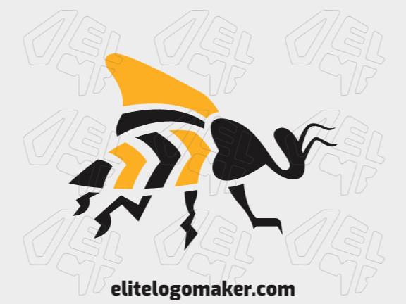 Logotipo adequado para várias empresas com a ilustração de uma abelha com design único e estilo artesanal.
