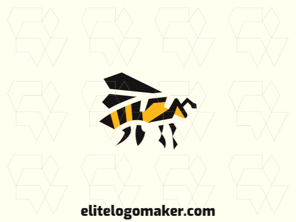 Abstract logo in the shape of a bee composed of solids shapes with black and yellow colors.