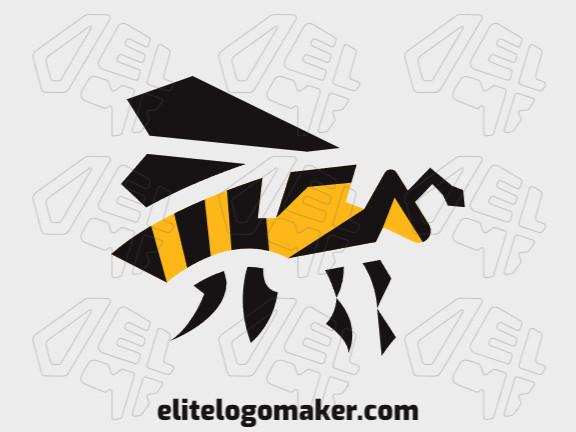 Logotipo vetorial com a forma de uma abelha com design abstrato e cores amarelo e preto.