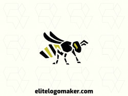 Original logo in the shape of a bee with a great design and stylized style, the colors used in the logo are yellow and black.