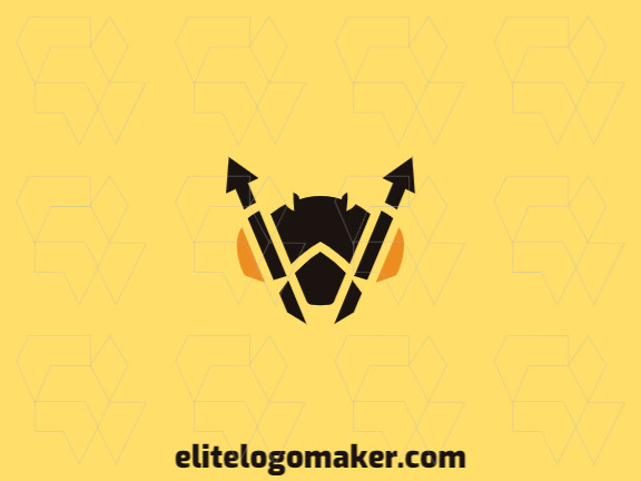 Modern logo in the shape of a bee head combined with arrows with professional design and symmetric style.