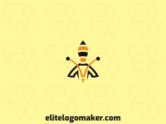 Abstract logo with a bee combined with a rocket and abstract style composed of simple shapes with black and yellow colors.
