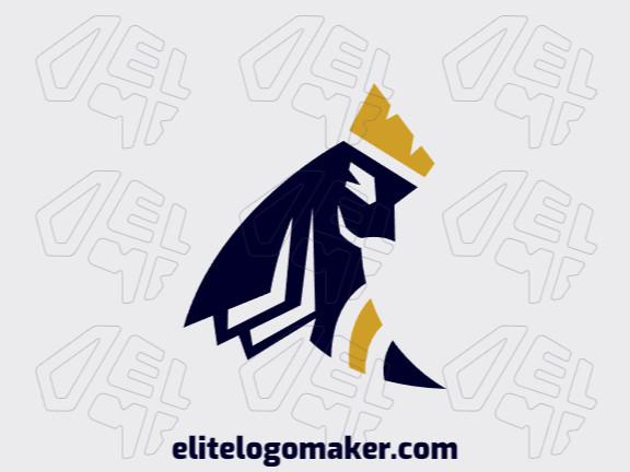 Logotipo customizável com a forma de uma abelha mesclado com papéis e uma coroa composto por um estilo simples e cores amarelo e preto.