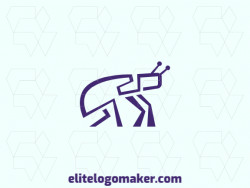 Simple logo with the shape of a giant beetle composed of abstracts shapes with purple color.