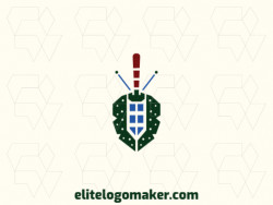 Simple logo design composed of abstract shapes forming a beetle combined with a sword with brown, green, and blue colors.