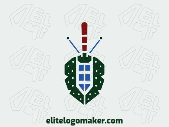 Logotipo criativo com a forma de um besouro mesclado com uma espada com design memorável e estilo abstrato, as cores utilizado foram azul, marrom, e verde.
