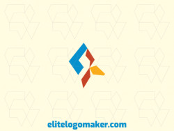 Minimalist logo design in the shape of a bird's head composed of geometric shapes with blue, yellow, and red colors.