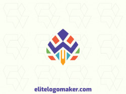 Vector logo in the shape of a bird with symmetric design with green, blue, orange, and purple colors.