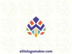 Logotipo vetorial com a forma de um pássaro com design simétrico.