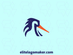 Abstract logo created with solid shapes forming a bird with blue and orange colors.