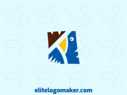 Creative logo in the shape of a bird with memorable design and abstract style, the colors used was blue, brown, and yellow.