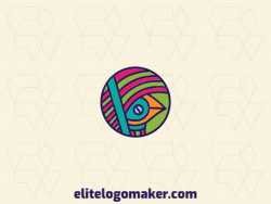 Customizable logo composed of solid shapes and circular style, forming a bird with green, blue, orange, and pink colors.