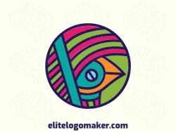 Logotipo customizável composto por formas sólidas e estilo circular formando um pássaro com as cores verde, azul, laranja, e rosa.