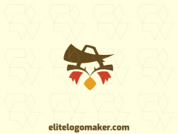 Creative logo in the shape of a bird merged with a hat with memorable design and stylized style, the colors used are: red, yellow, brown.