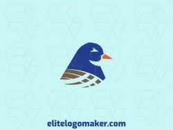 Logo created with illustrative style forming a bird with colors blue and brown.