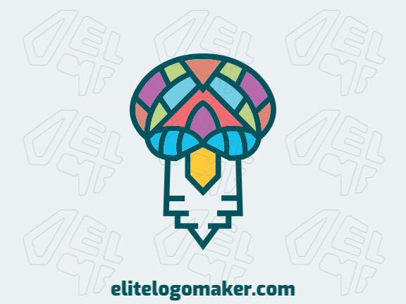 Logotipo elegante com formas abstratas formando uma cabeça de pássaro com design criativo e cores amarelo, rosa, verde, roxo, e azul.