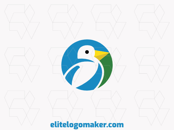 Circular logo composed of abstract shapes forming a bird in negative space with blue, yellow and green colors.