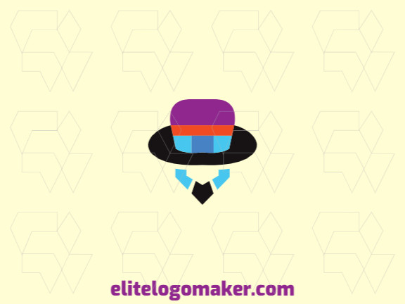 Stylized logo in the shape of a bird head combined with a pencil and hat with blue, black, purple and orange colors.