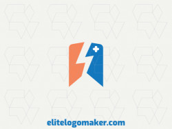 Professional logo in the shape of a bird combined with a banner, with an abstract style, the colors used was blue and orange.