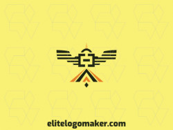 Create your own logo in the shape of a bird combined with brackets with symmetric style and orange, black, and yellow colors.