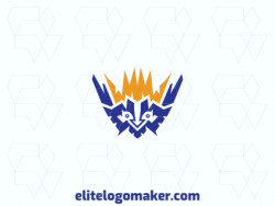 Creative logo in the shape of a bird combined with a crown, with memorable design and abstract style, the colors used was blue and yellow.