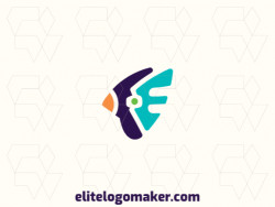 """Simple logo composed of abstract shapes forming a bird combined with a letter """"E"""" with green, blue, and orange colors."""