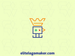 Creative logo with minimalist design forming a bird combined with a crown with red, yellow, blue, and green colors.