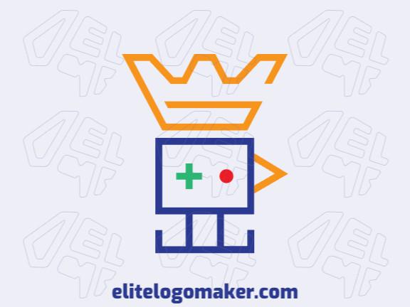 Logotipo minimalista com ideia incrível formando um pássaro mesclado com uma coroa composto por formas abstratas com as cores vermelho, azul, verde, e amarelo.