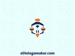 Mascot logo in the shape of a bird judge combined with a crown, the colors used are brown, blue, and orange.