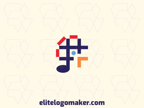 Memorable logo in the shape of a bird combined with a musical note, with abstract style and customizable colors.