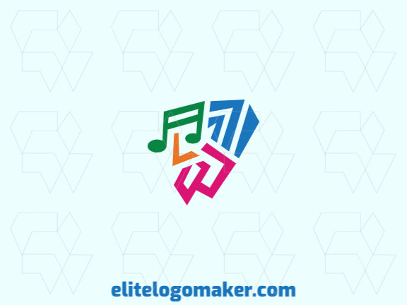 The logo consists of abstract shapes forming a bird combined with a musical note with abstract style, the colors used are pink, blue, yellow, and green.