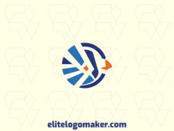 Animal logo composed of abstract shapes, forming a bird design with blue and orange colors.