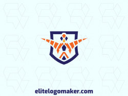 Create a logo for your company in the shape of a bird combined with a shield with a symmetric style with blue and orange colors.