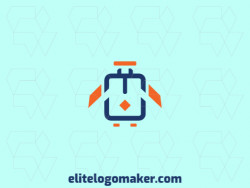 Abstract logo with the shape of a bird combined with a suitcase with blue and orange colors.