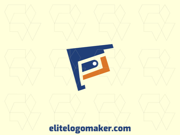 Animal logo design with the shape of a bird combined with a wallet with orange and blue colors.