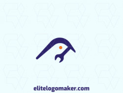 Creative logo in the shape of a bird combined with a wrench, with memorable design and gradient style, the colors used was blue and orange.