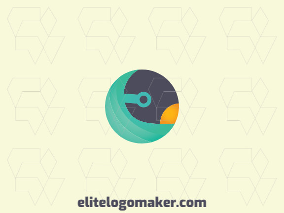 Stylized logo design in the shape of a bird composed of stylized shapes with black, green, and yellow colors.