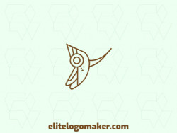 Vector logo in the shape of a birdie with monoline style and brown color.