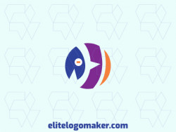 Create your own logo in the shape of a birdie with a circular style, with blue, orange, and purple colors.