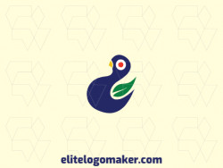Abstract logo created with abstract shapes forming a birdie combined with a leaf, with green, blue, and red colors.