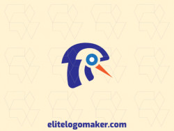 Vector logo in the shape of a birdie with abstract style with blue and orange colors.