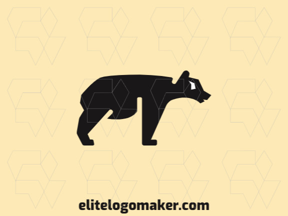 Minimalist logo with a refined design forming a black bear with white and black colors.