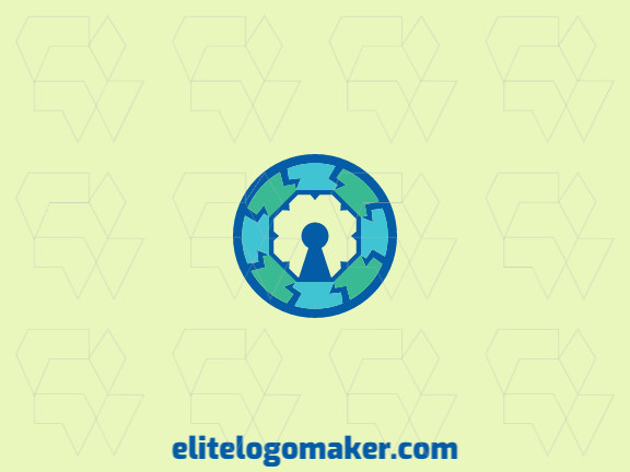 Circular logo design consists of the combination of an eye with a shape of a padlock with blue and green colors.