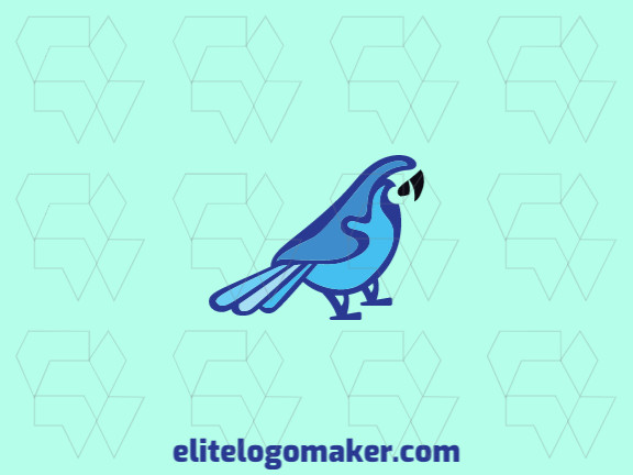 Animal logo with a refined design forming a blue macaw with black and blue colors.