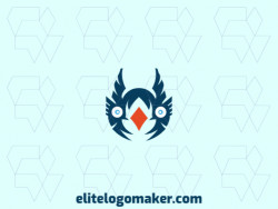 Create a logo for your company in the shape of a bluebird with an abstract style, with blue and orange colors.